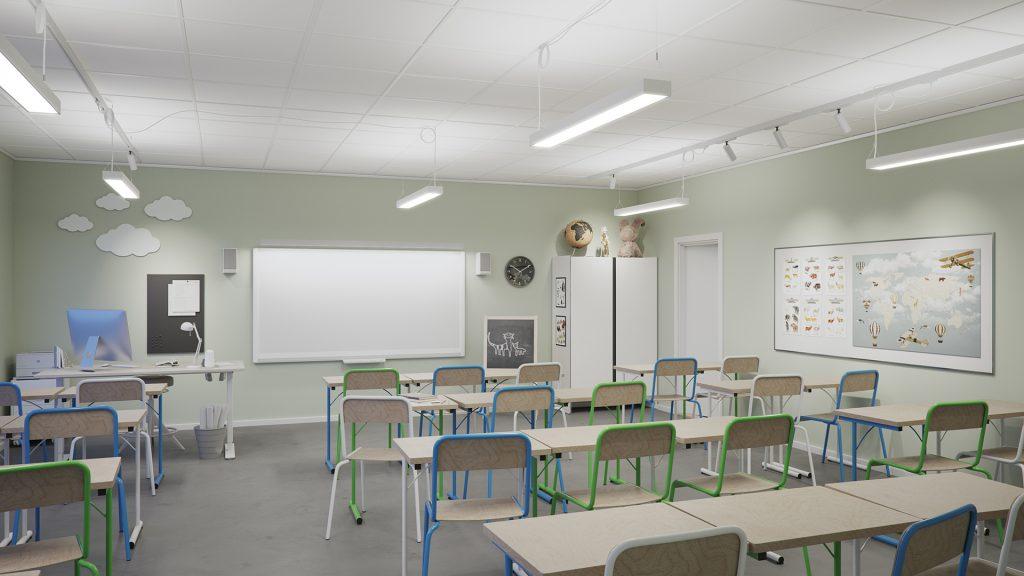 Klassrum som visar ljuslösning 1 med pendlade armaturer och spotlights på strömskenor