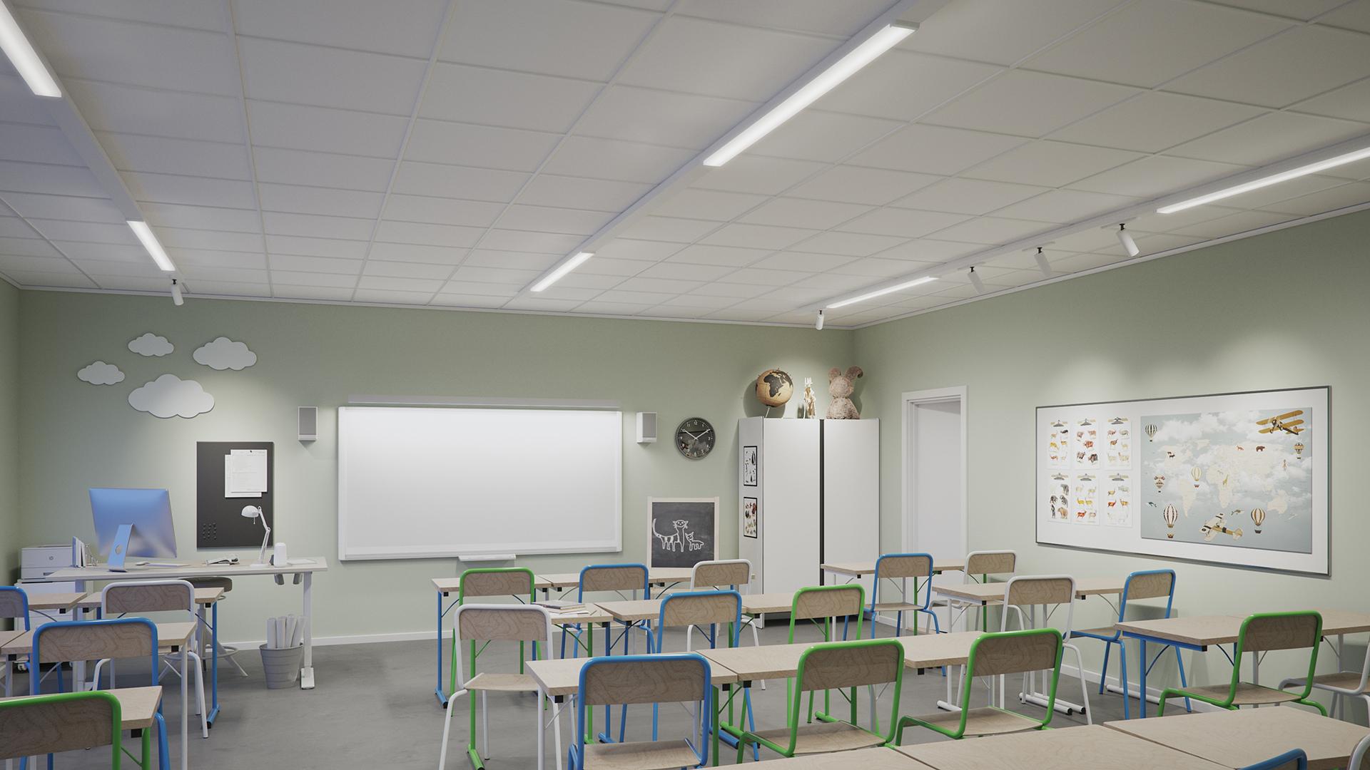 Klassrum med belysning av integrerad belysningsskena dikt tak.