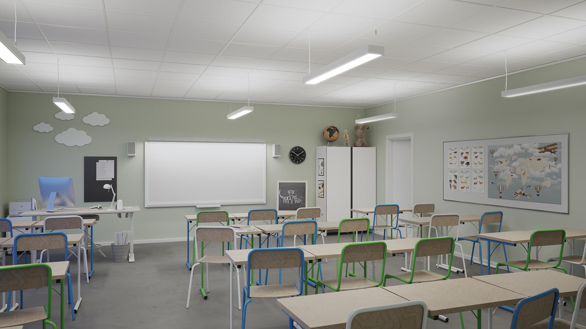 Klassrum belysning med pendlade armaturer.
