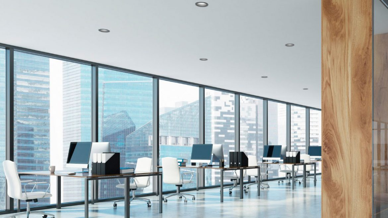 Loft open space office interior, wood