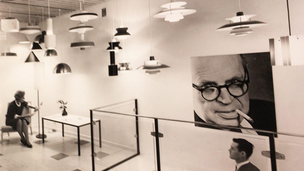 Axel Annells showroom på Gustav Adolfs torg i Malmö som PH invigde 1958